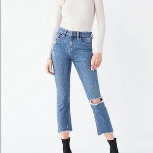 BDG Kick Flare High Rise Cropped Distressed Jeans